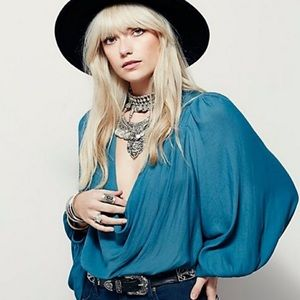 Free People Cowling Around Boho Blouse in Jade